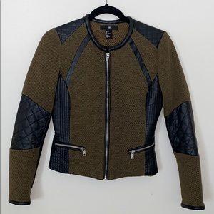 Olive & Faux leather Moto jacket